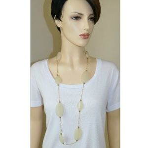 Long Necklace Cream Off White Resin with Gold